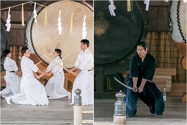 左:上級者による剣術 右:長野支部教室長の居合